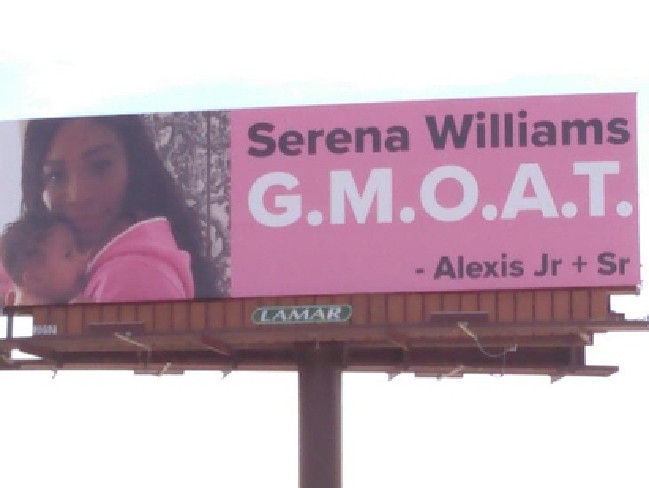 Husband's Billboards Gesture Serena Williams