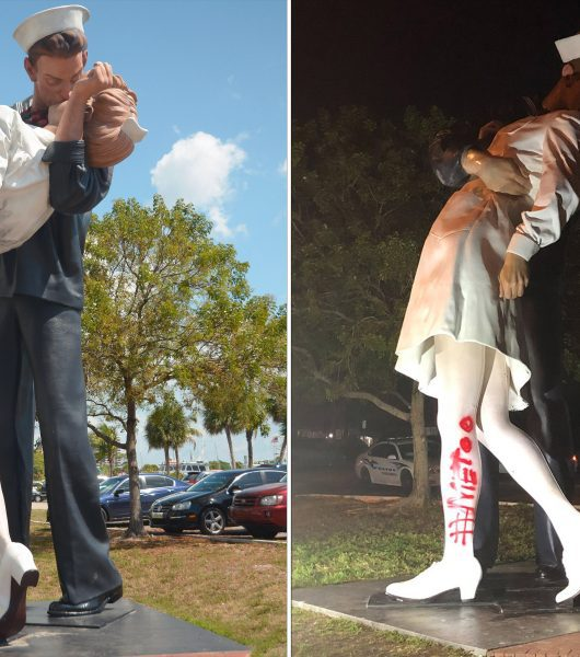 vandal paints #MeToo statue