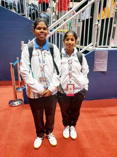 Rincy Biju and Jyothi A., hearing impaired basketball players
