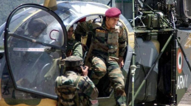 Mahendra Singh Dhoni in the Army base Bangalore