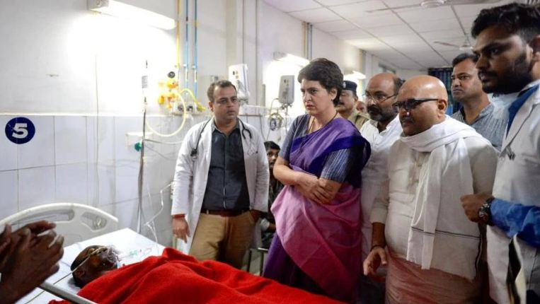 Priyanka Gandhi Vadra visited the victims of clash over Sonbhadra land dispute at BHU Trauma Centre in Varanasi