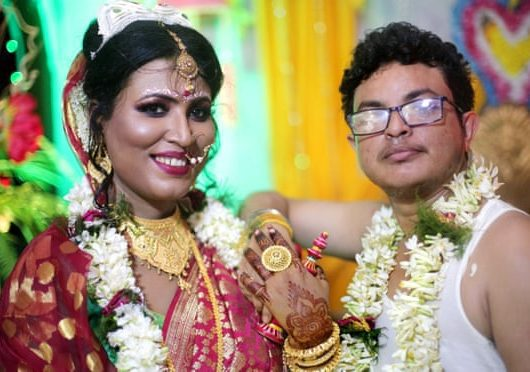 Transgender couple wedding
