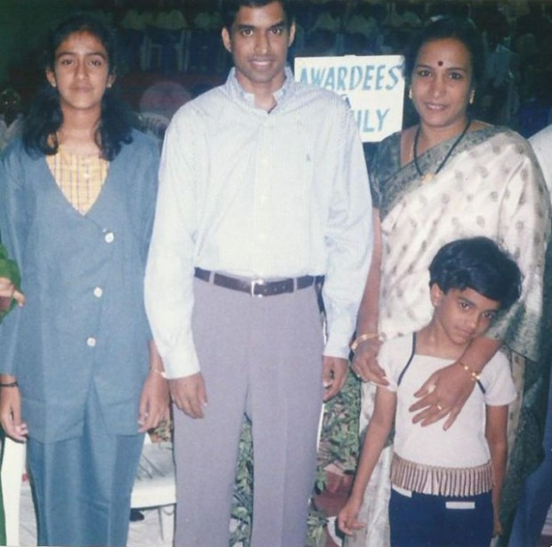 Gopichand with little Sindhu and Sindhu's family
