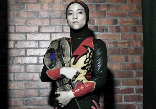 Hijab wearing wrestler