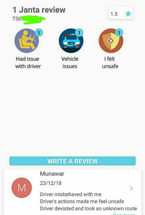 Screenshot of the reviews appear on Janta App for your reference