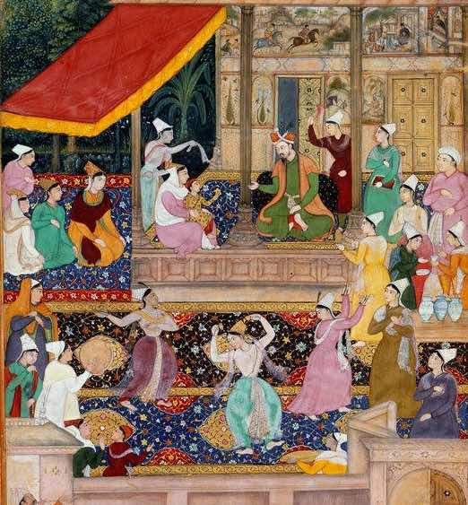 The child Akbar recognises his mother', Kabul, 1545. It depicts the reunion of Humayun with his family, during which Akbar recognises his mother after an absence of two years. It was painted in 1602/1603, as part of the Akbarnama, is now in the British LIbrary