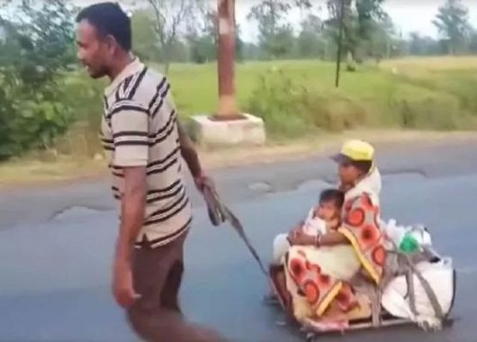 migrant-worker-pulls-pregnant-wife,-child-on-a-cart-for-700-km