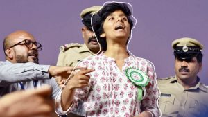 Karnataka, Feb 20 (ANI): The woman named Amulya being stopped by the organizers and police after she raised slogans during a protest rally against CAA by AIMIM Chief Asaduddin Owaisi at Freedom Park in Bengaluru on Thursday. (ANI Photo)