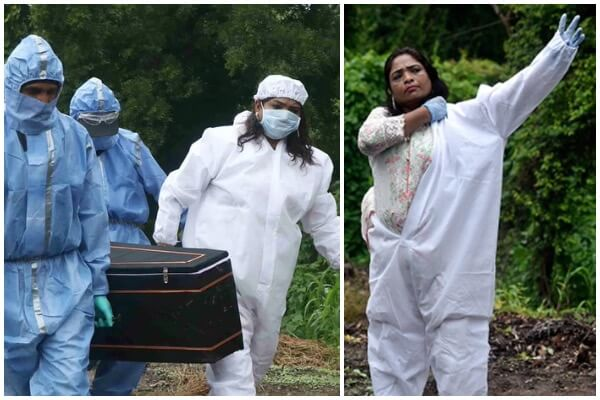 woman burying covid patients