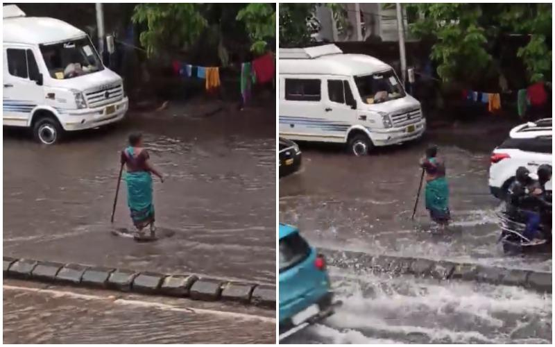 Mumbai Woman guards Open Manhole