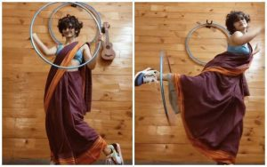 hula hoop saree video, Eshna Kutty Mother Chitra Narayanan