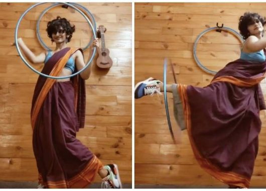 viral-video:-woman-hula-hooping-in-a-saree-and-sneakers-to-'genda-phool'-leaves-internet-floored