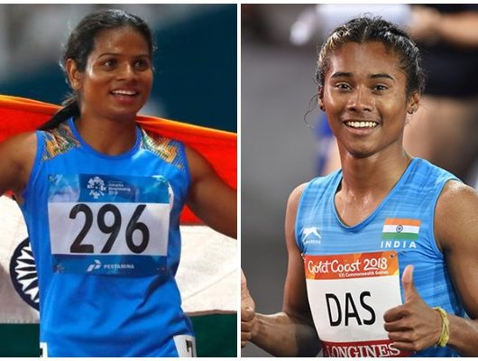 Hima Das and Dutee Chand in relay team india