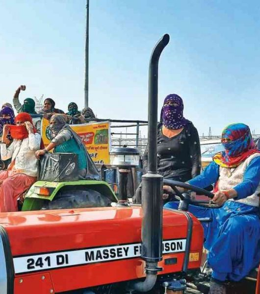 Farmers Protest Tractor Rally Women